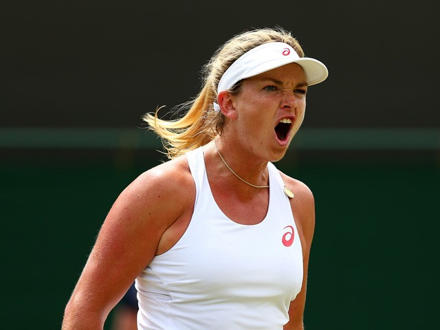 Coco Vandeweghe of the United States reacts in her Ladies Singles Fourth Round match against Lucie Safarova of Czech Republic during day seven of the Wimbledon Lawn Tennis Championships at the All England Lawn Tennis and Croquet Club