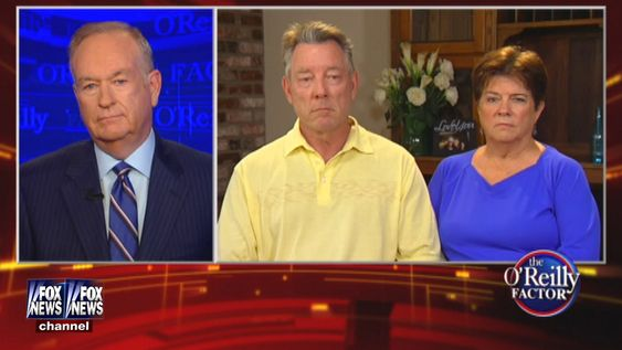 Fox News Channel shows host Bill O'Reilly speaking with James Steinle and Elizabeth Sullivan parents of Kathryn Steinle during an interview by satellite for'The O'Reilly Factor on Monday