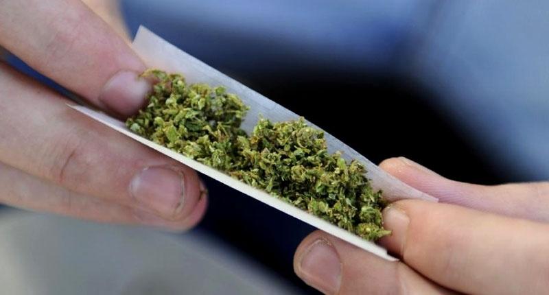 Rolling a marijuana joint