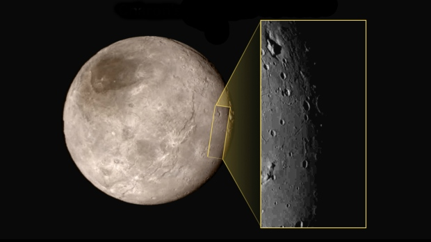 A close-up of Pluto's largest moon Charon shows a depression with a peak in the middle seen in the upper left corner of the inset. The image shows an area approximately 390 kilometres from top to bottom