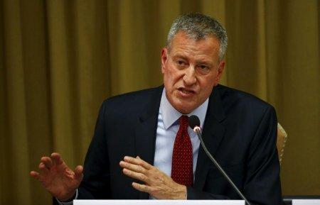 New York City Mayor Bill de Blasio speaks during the