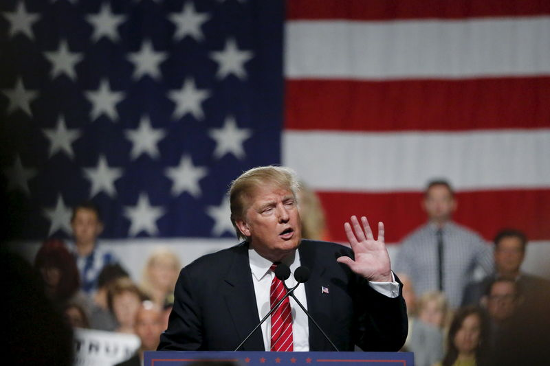 U.S. Republican presidential candidate Donald Trump speaks during a campaign event in Phoenix Arizona