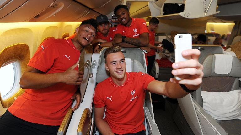 Alex Oxlade-Chamberlain Kieran Gibbs Calum Chambers Aaron Ramsey and Chuba Akpom take a selfie as they travel to Singapore