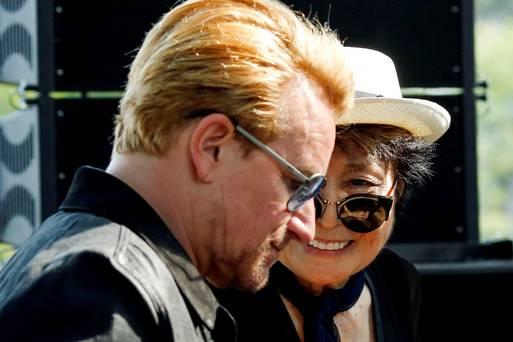 Artist Yoko Ono, the widow of John Lennon speaks to Bono