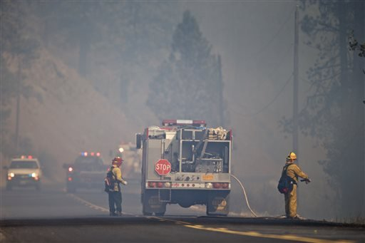 The fire is threatening Highway 180 which is the only way in and of the area officials said