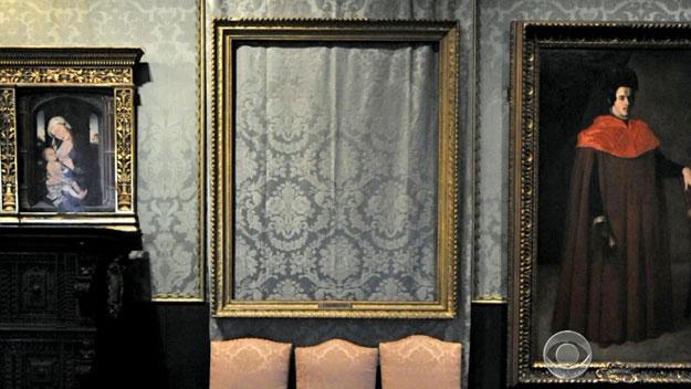 Empty frame at Isabella Stewart Gardner Museum