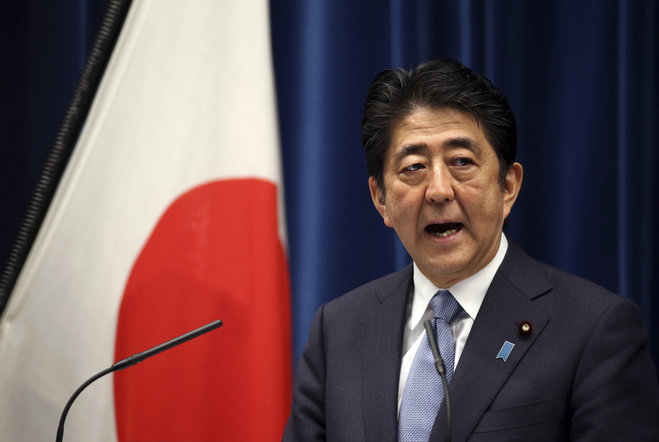 Japanese Prime Minister Shinzo Abe delivers a statement to mark the 70th anniversary of the end of World War II during a press conference at his official residence in Tokyo Friday Aug. 14 2015. Abe has expressed'profound grief for all who perished