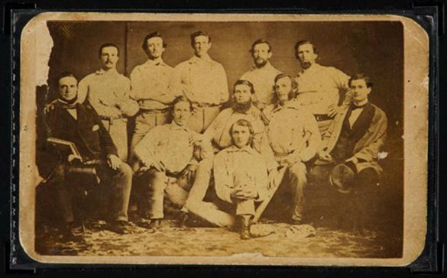 Auctions shows the front of a circa 1860 Brooklyn Atlantics baseball card. The pre Civil War card is on the auction block at Heritage Auctions during their evening sale Thursday