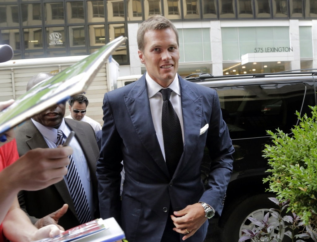 New England Patriot's quarterback Tom Brady arrives for his appeal hearing at NFL headquarters in New York. The NFL Players Union has sued to get a judge to void NFL Commissioner Roger Goodell's four-game suspensi