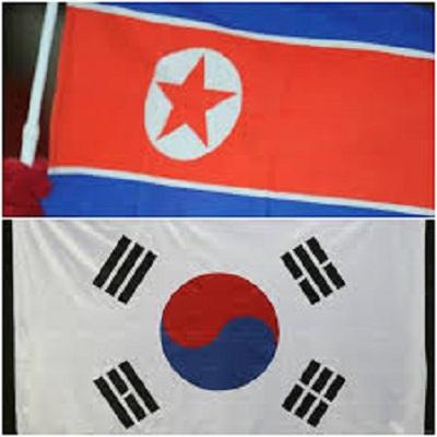North Korea South Kora flags