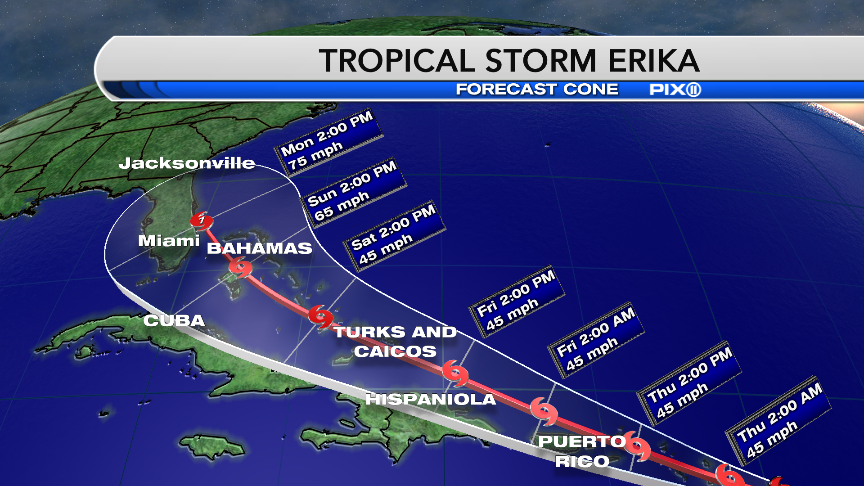 Erika strengthens, eyes Florida