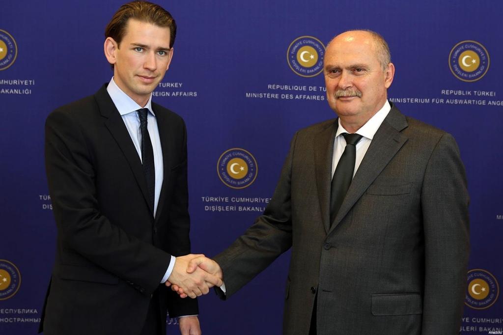 Feridun Sinirlioglu during a press conference with his Austrian counterpart Sebastian Kurz