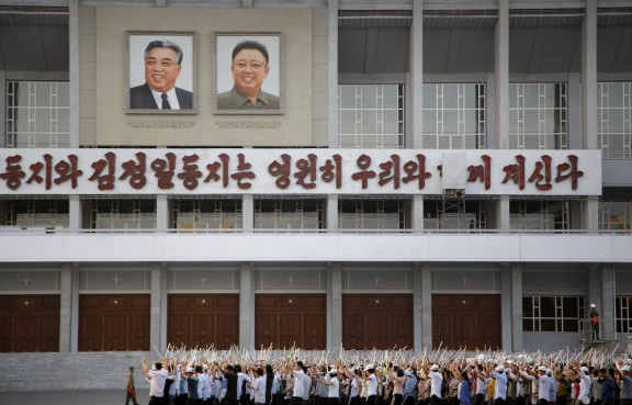 North Koreans gather in Pyongyang to prepare for next month's anniversary events