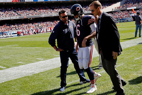 Jay Cutler #6 of the Chicago Bears walks off the field with an injury after giving up an interception for a touchdown against the Arizona Cardinals during the second quarter at Soldier Field