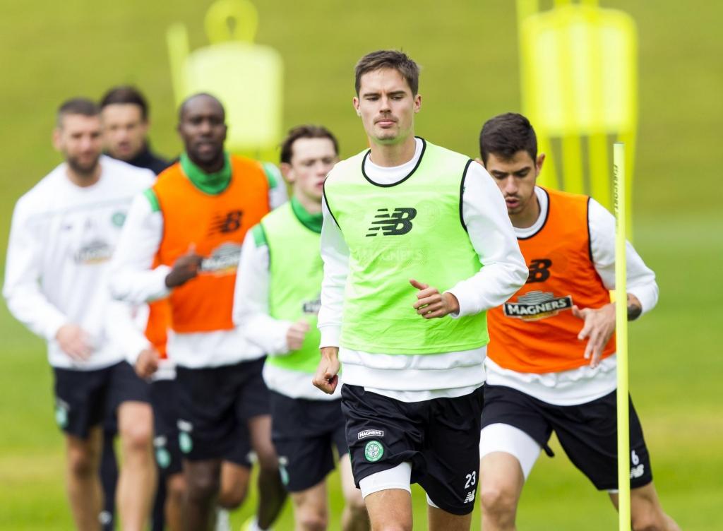 Celtic's Mikael Lustig in training at Lennoxtown