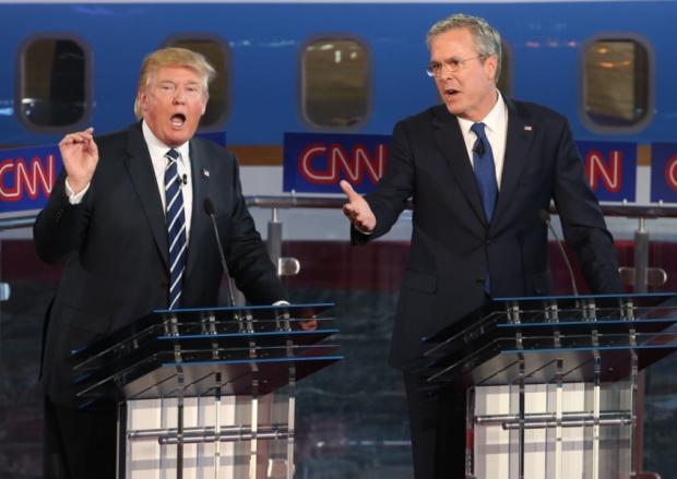 Donald Trump and Jeb Bush clash in the presidential debate at the Reagan Library in Simi Valley California