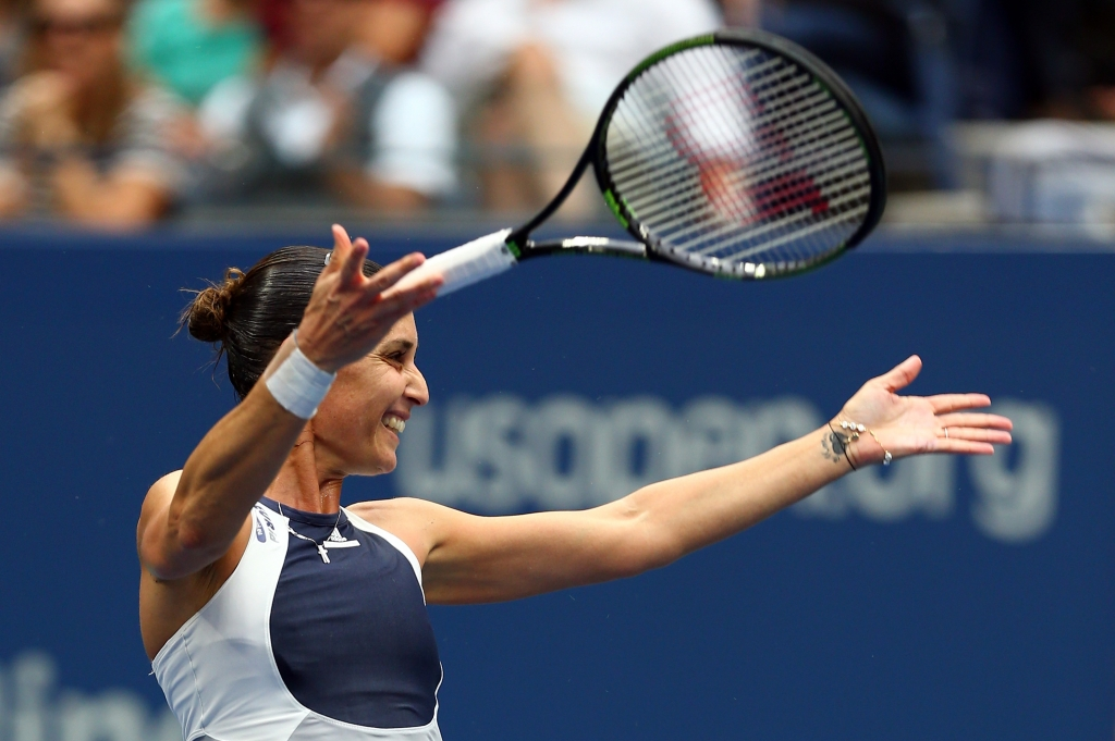 Flavia Pennetta celebrates after defeating Roberta Vinci in the women's singles final at the U.S. Open on Saturday
