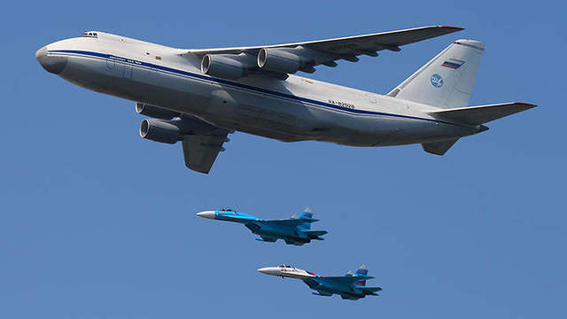 AN-124 acompained with two SU-27 fighter jets
