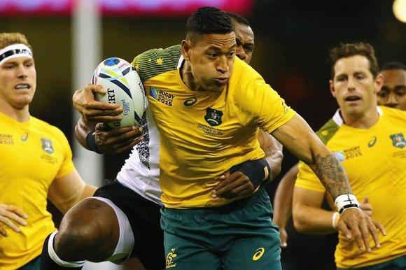 Israel Folau bof Australia tries to break through the Fiji defence