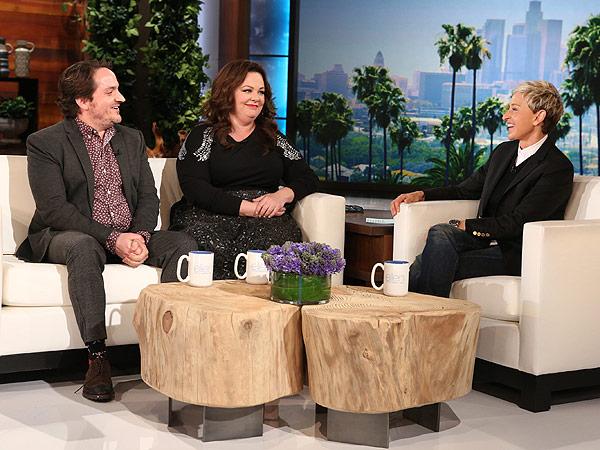 "Jimmy Fallon wears a padded suit gifted to him by Ellen De Generes on Friday's episode of ""Ellen."""