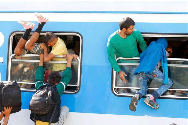 Migrants scramble through a train's window at the station in Beli Manastir Croatia