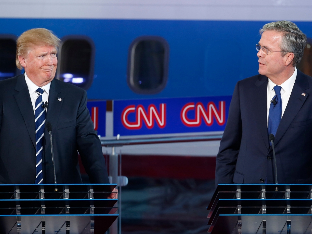 REUTERS  Lucy Nicholson Republican U.S. presidential candidate businessman Donald Trump reacts to former Florida Governor Jeb Bush