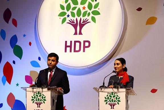 Peoples&#039 Democratic Party Co-chairs Selahattin Demirtas and Figen Yuksekdag