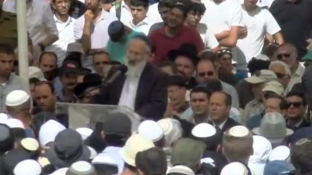 Israelis attend the funeral of Rabbi Nehemia Lavie in Jerusalem on Sunday