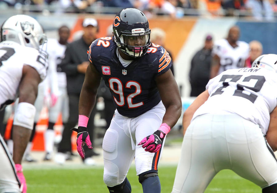 Chicago Bears linebacker Pernell Mc Phee comes to the line against the Oakland Raiders on Sunday Oct. 4 2015 in Chicago