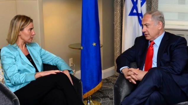 Rencontre entre la chef de la politique étrangère de l'UE Federica Mogherini et le Premier ministre Benjamin Netanyahu à New York le 30 septembre 2015