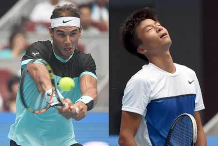 Rafael Nadal and Wu Di. AFP