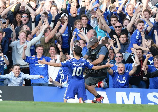 Eden Hazard celebrates his goal with the fans