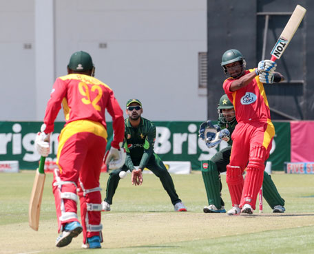 Zimbabwe batsman Chamunorwa Chibhabha hits the ball during the series of three ODI cricket matches between Pakistan and host Zimbabwe