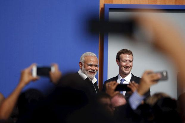 Prime Minister Narendra Modi and Facebook CEO Mark Zuckerberg after a town hall at Facebook's headquarters in Menlo Park California