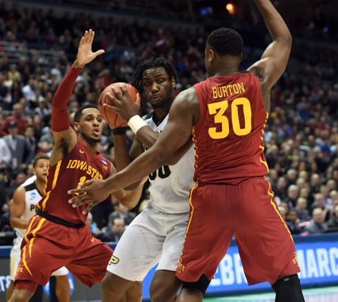 James Lang-USA TODAY Sports Purdue forward Caleb Swanigan pivots against Iowa State defenders Deonte Burton and Monte Morris on Saturday night