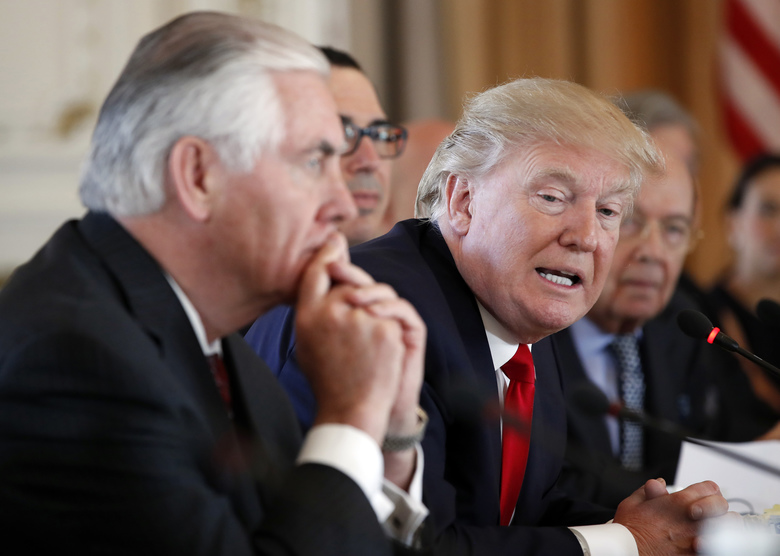 President Donald Trump joined by Secretary of State Rex Tillerson left speaks during a bilateral meeting with Chinese President Xi Jinping at Mar-a Lago in Palm Beach Fla. Lambasted for his low-key diplomacy Tillerson