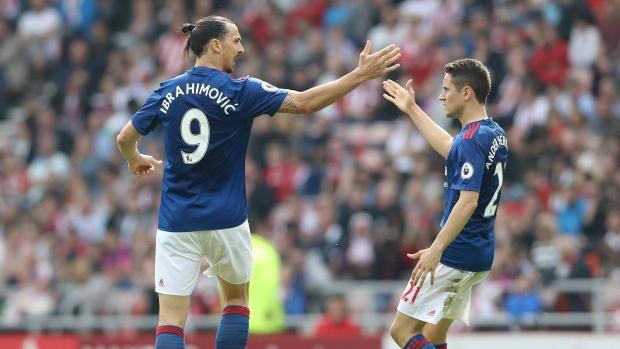 Zlatan Ibrahimovic and Ander Herrera celebrate goal