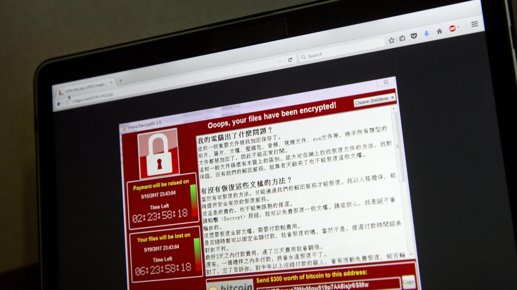A screenshot of the warning screen ransomware attack as captured by a computer user in Taiwan seen Saturday