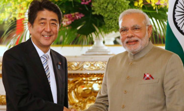 File pic of Japanese Pm Shinzo Abe with PM Narendra Modi