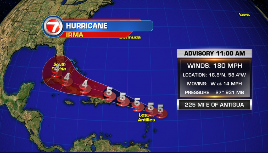 The forecast for Hurricane Irma as of Sept. 5 at 11 a.m