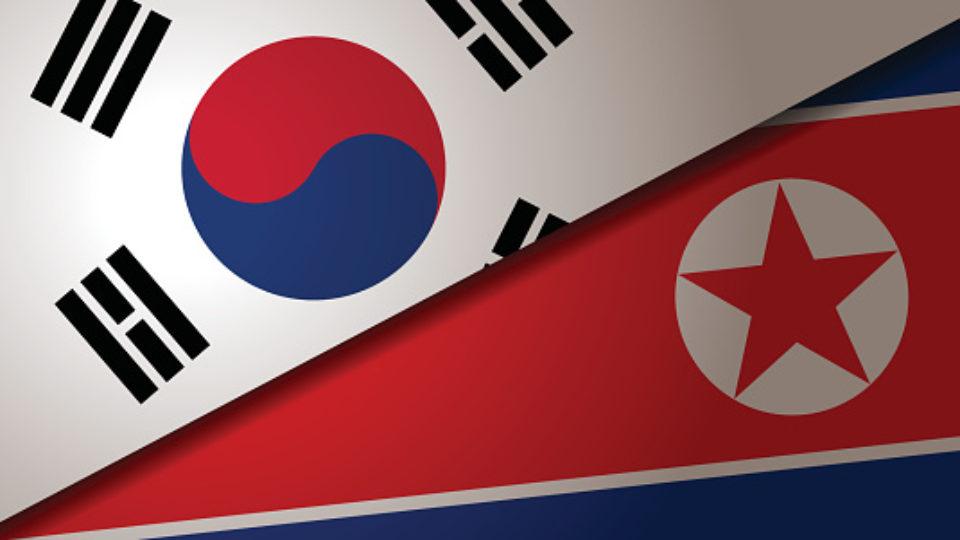 South Korea and North Korea flags