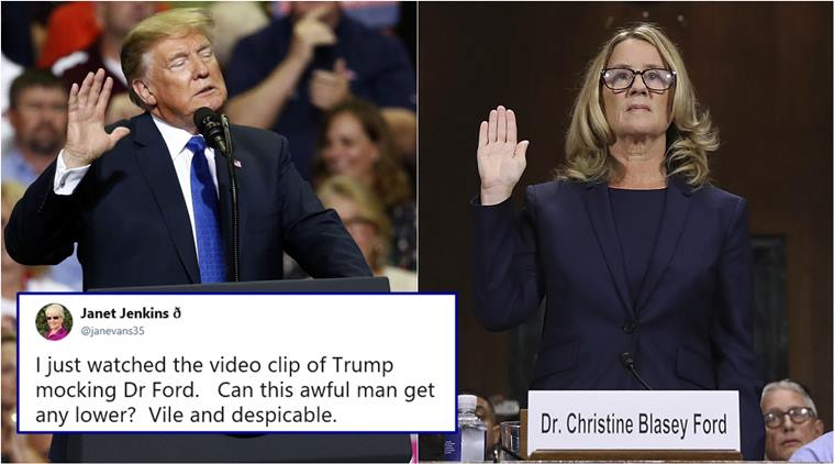 Outpouring of anger on Twitter after Trump mocks Brett Kavanaugh's accuser